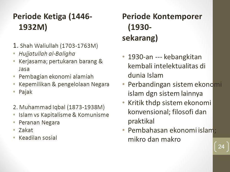 Periode Ketiga (1446- 1932M) 1. Shah Waliullah (1703-1763M) Hujjatullah al-Baligha Kerjasama; pertukaran barang & Jasa Pembagian ekonomi alamiah Kepem