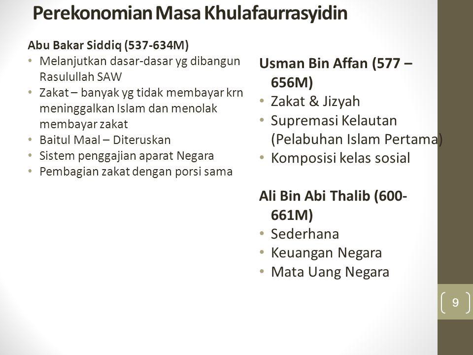 Perekonomian Masa Khulafaurrasyidin Abu Bakar Siddiq (537-634M) Melanjutkan dasar-dasar yg dibangun Rasulullah SAW Zakat – banyak yg tidak membayar kr
