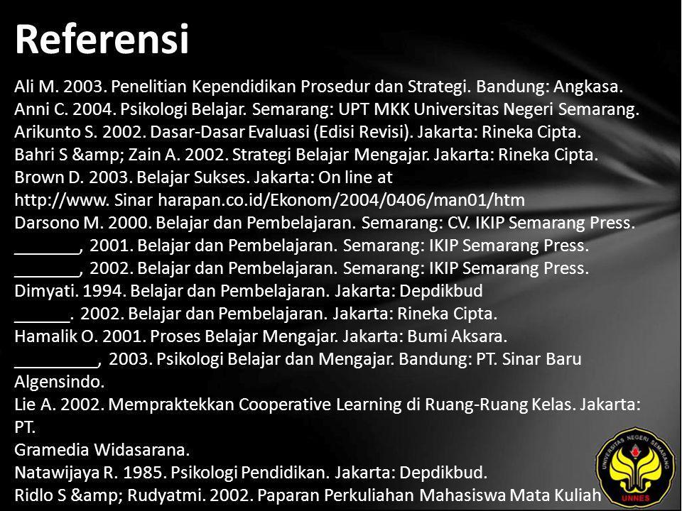 Referensi Ali M. 2003. Penelitian Kependidikan Prosedur dan Strategi.
