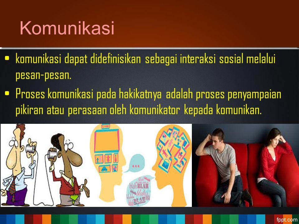 Komunikasi komunikasi dapat didefinisikan sebagai interaksi sosial melalui pesan-pesan. Proses komunikasi pada hakikatnya adalah proses penyampaian pi
