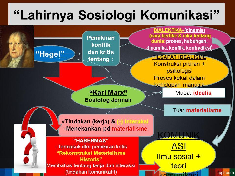 """""""Karl Marx"""" Sosiolog Jerman """"Hegel"""" Muda: idealis Tua: materialisme """"Lahirnya Sosiologi Komunikasi"""" Pemikiran konflik dan kritis tentang : DIALEKTIKA-"""