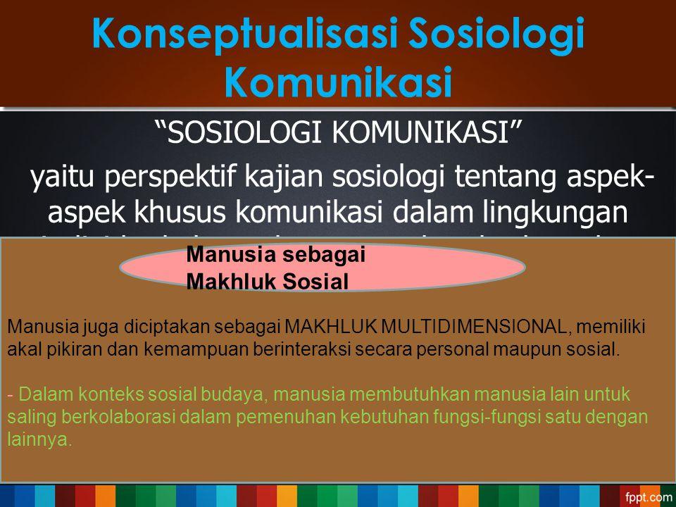 """Konseptualisasi Sosiologi Komunikasi """"SOSIOLOGI KOMUNIKASI"""" yaitu perspektif kajian sosiologi tentang aspek- aspek khusus komunikasi dalam lingkungan"""