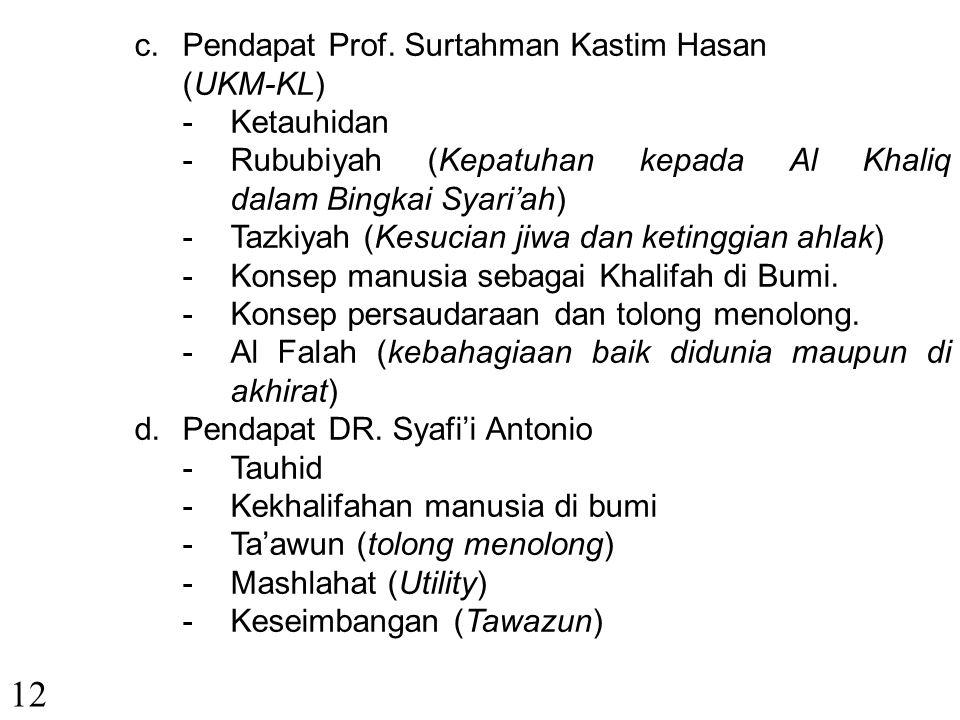 11 a.Pendapat Prof.Yasir Nasution. -Tauhid -Keadilan -Keseimbangan -Kebebasan -Pertanggungjawaban. b.Pendapat DR. Edi Warman Karim -Tauhid -Adl (Adil)