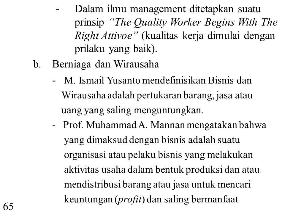 -M-Menurut Suroso Imam Zadjuli, ethos kerja dalam Islam sebagai berikut : Niat kerja karena Allah semata.