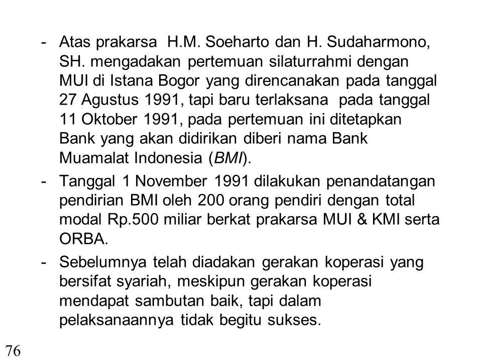 VIII. PERKEMBANGAN EKONOMI SYARIAH DI INDONESIA -Cikal bakal umat Islam untuk mendirikan Bank Syariah dicetuskan pada loka karya DP MUI pada tanggal 2