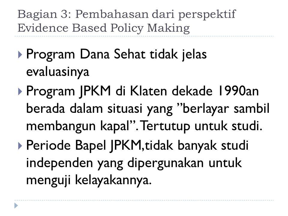 Bagian 3: Pembahasan dari perspektif Evidence Based Policy Making  Program Dana Sehat tidak jelas evaluasinya  Program JPKM di Klaten dekade 1990an berada dalam situasi yang berlayar sambil membangun kapal .