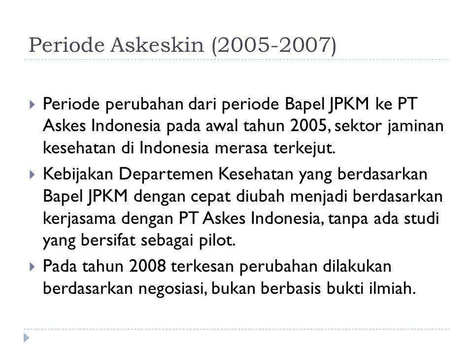 Periode Askeskin (2005-2007)  Periode perubahan dari periode Bapel JPKM ke PT Askes Indonesia pada awal tahun 2005, sektor jaminan kesehatan di Indonesia merasa terkejut.