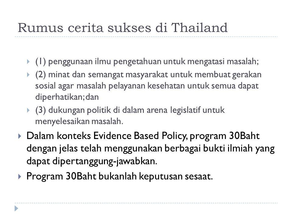 Rumus cerita sukses di Thailand  (1) penggunaan ilmu pengetahuan untuk mengatasi masalah;  (2) minat dan semangat masyarakat untuk membuat gerakan sosial agar masalah pelayanan kesehatan untuk semua dapat diperhatikan; dan  (3) dukungan politik di dalam arena legislatif untuk menyelesaikan masalah.
