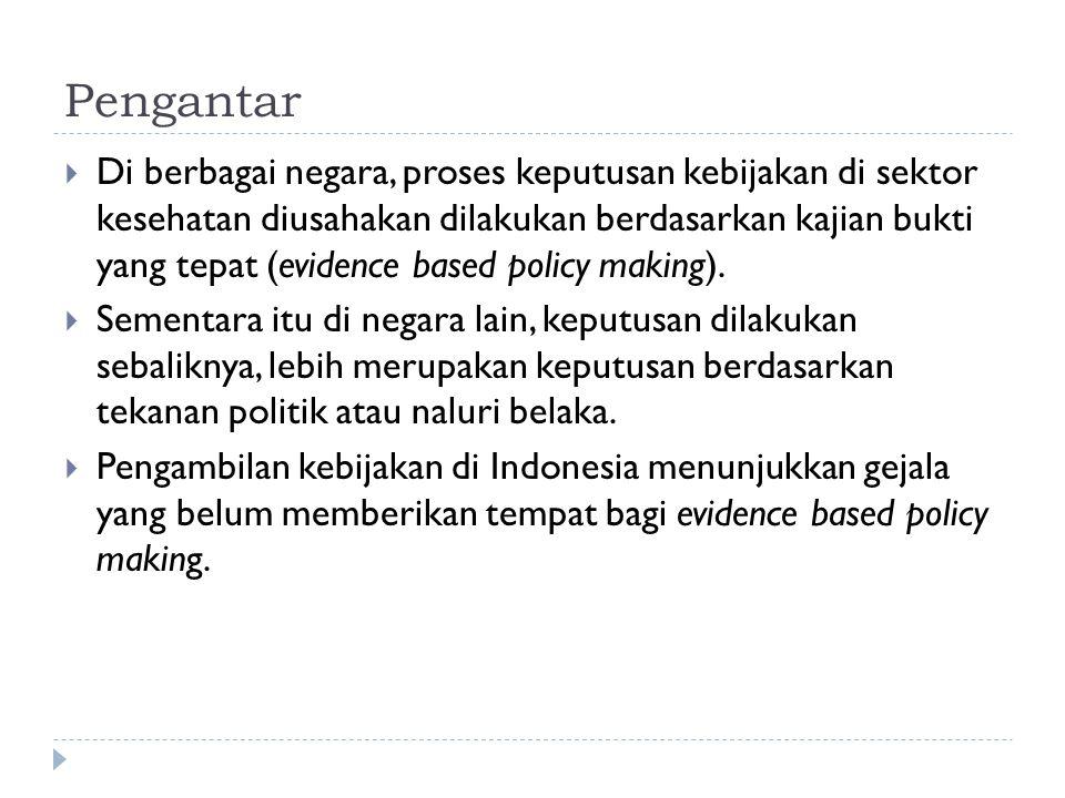 Pengantar (lanjutan)  Contoh paling mencolok adalah kebijakan mengenai jaminan kesehatan untuk keluarga miskin.