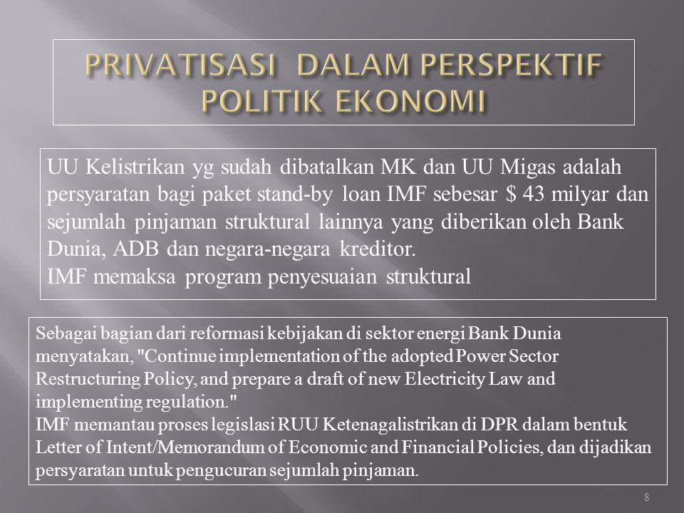8 UU Kelistrikan yg sudah dibatalkan MK dan UU Migas adalah persyaratan bagi paket stand-by loan IMF sebesar $ 43 milyar dan sejumlah pinjaman struktural lainnya yang diberikan oleh Bank Dunia, ADB dan negara-negara kreditor.