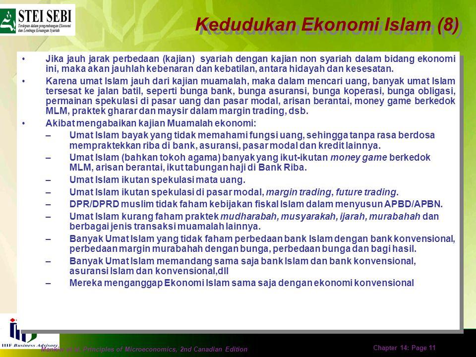 Mankiw et al. Principles of Microeconomics, 2nd Canadian Edition Chapter 14: Page 10 Sesungguhnya dua sisi syariah Islam ialah ibadat dan muamalat. Ke