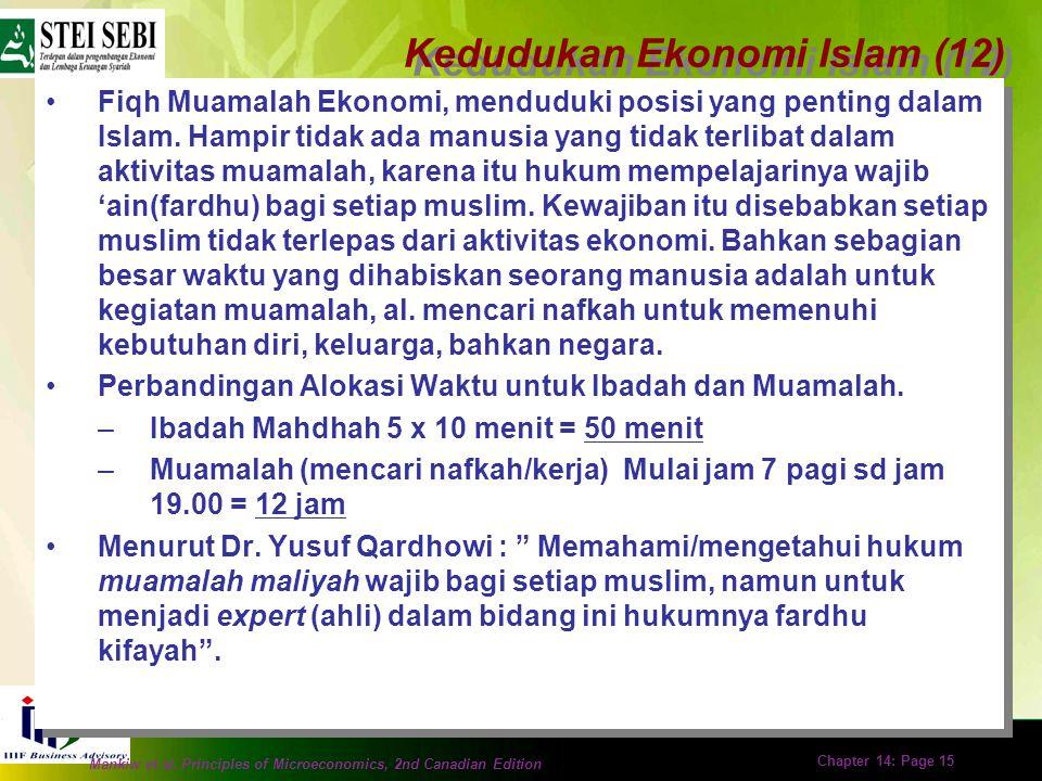 Mankiw et al. Principles of Microeconomics, 2nd Canadian Edition Chapter 14: Page 14 Kedudukan Ekonomi Islam (11) Menurut Dr Abdul Sattar dalam kitabn