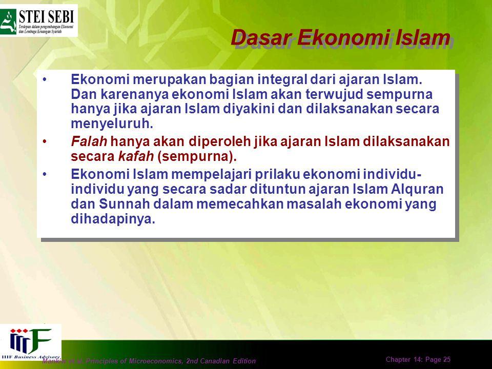 Mankiw et al. Principles of Microeconomics, 2nd Canadian Edition Chapter 14: Page 24 B.Konsep Dasar Ekonomi Islam –Tujuan Hidup –Ekonomi Islam dan Ras