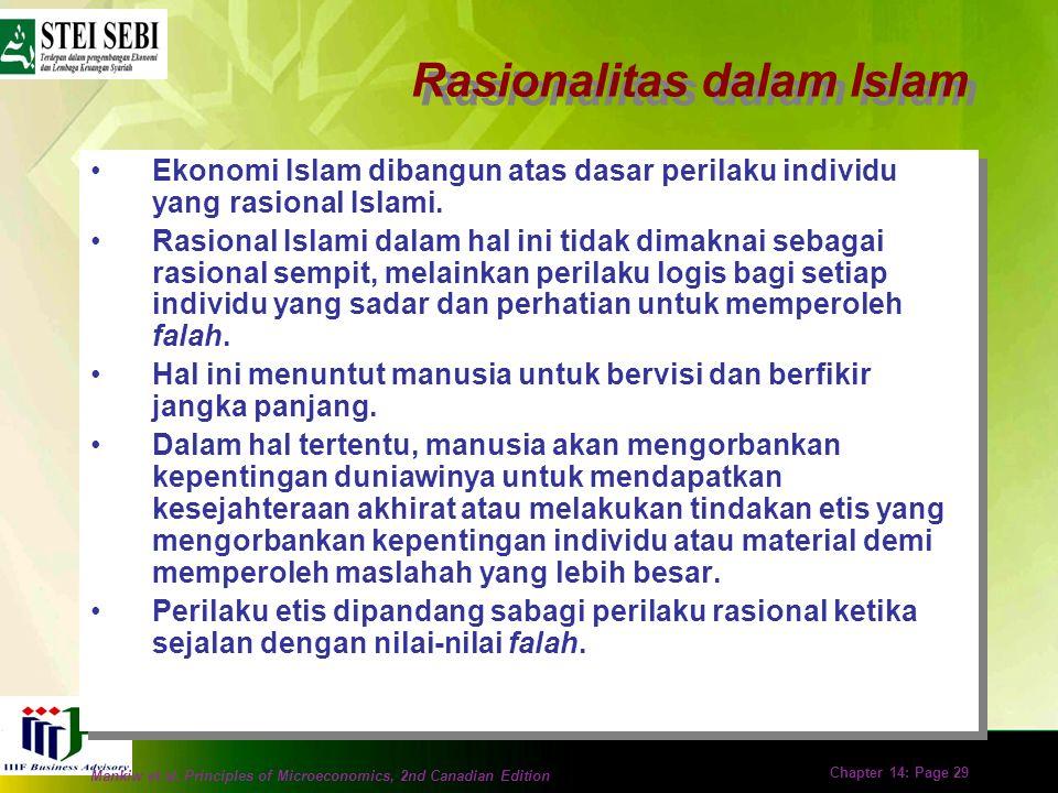 Mankiw et al. Principles of Microeconomics, 2nd Canadian Edition Chapter 14: Page 28 Ekonomi Islam sebagai Suatu Ilmu dan Norma Ekonomi positif (posit