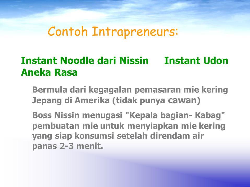 Contoh Intrapreneurs: Instant UdonInstant Noodle dari Nissin Aneka Rasa Bermula dari kegagalan pemasaran mie kering Jepang di Amerika (tidak punya caw