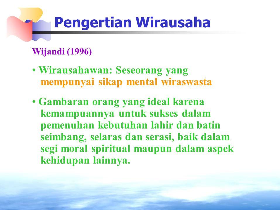 Pengertian Wirausaha Wijandi (1996) Wirausahawan: Seseorang yang mempunyai sikap mental wiraswasta Gambaran orang yang ideal karena kemampuannya untuk