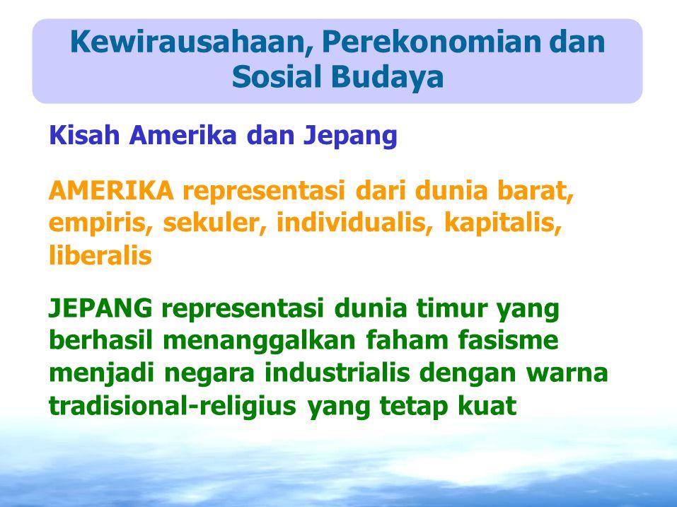 Kewirausahaan, Perekonomian dan Sosial Budaya Kisah Amerika dan Jepang AMERIKA representasi dari dunia barat, empiris, sekuler, individualis, kapitali