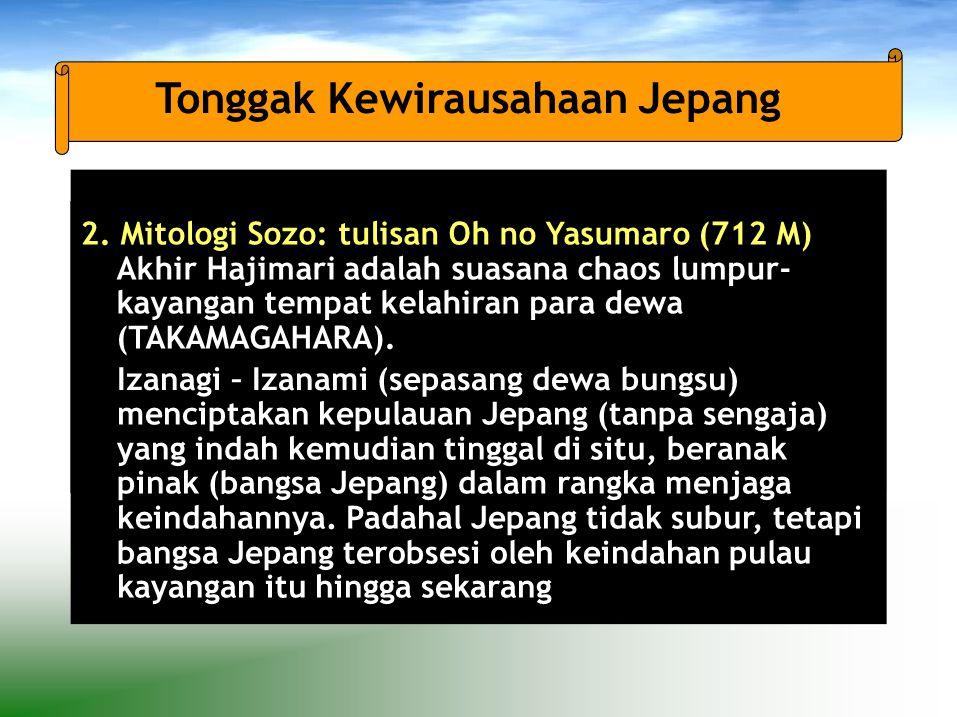 2. Mitologi Sozo: tulisan Oh no Yasumaro (712 M) Akhir Hajimari adalah suasana chaos lumpur- kayangan tempat kelahiran para dewa (TAKAMAGAHARA). Izana