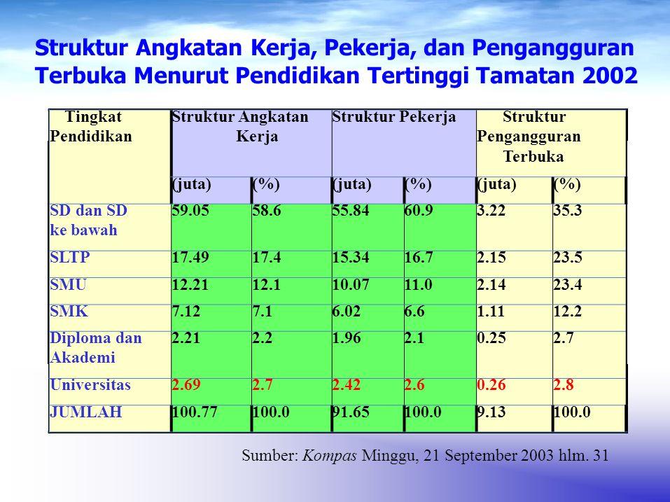 Tingkat Pendidikan Struktur Angkatan Kerja Struktur PekerjaStruktur Pengangguran Terbuka (juta)(%)(juta)(%)(juta)(%) SD dan SD ke bawah 59.0558.655.84