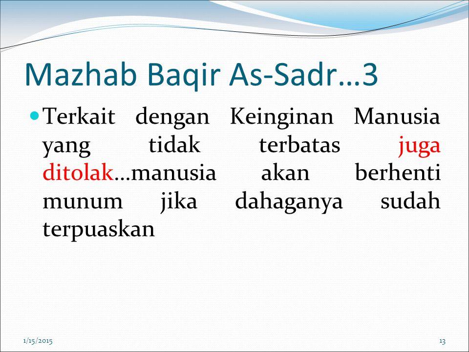 Mazhab Baqir As-Sadr…3 Terkait dengan Keinginan Manusia yang tidak terbatas juga ditolak…manusia akan berhenti munum jika dahaganya sudah terpuaskan 1