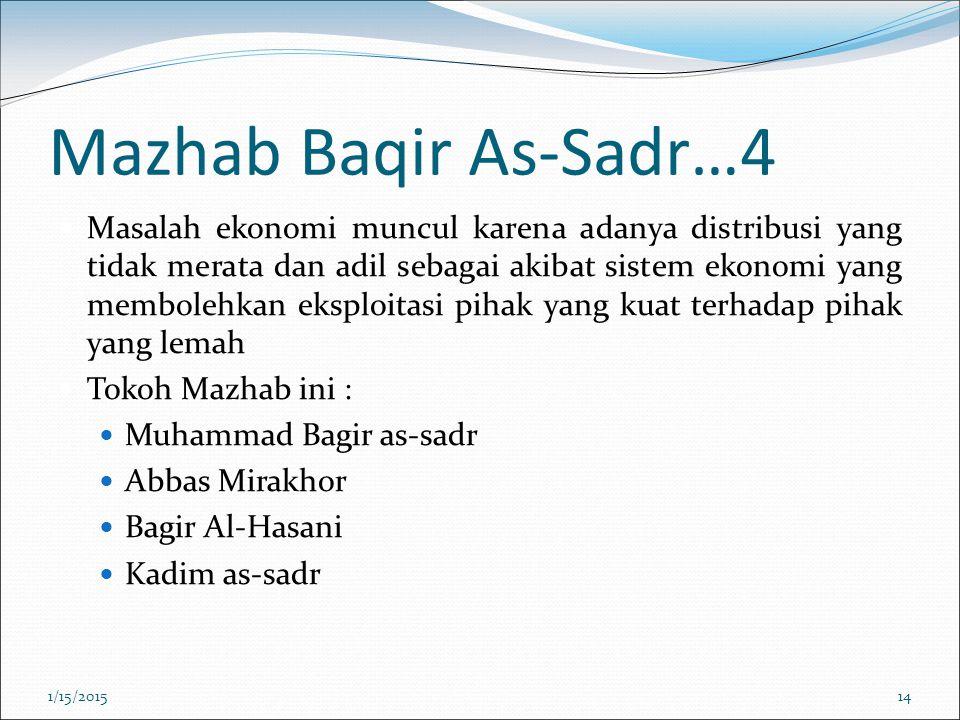 Mazhab Baqir As-Sadr…4 Masalah ekonomi muncul karena adanya distribusi yang tidak merata dan adil sebagai akibat sistem ekonomi yang membolehkan ekspl
