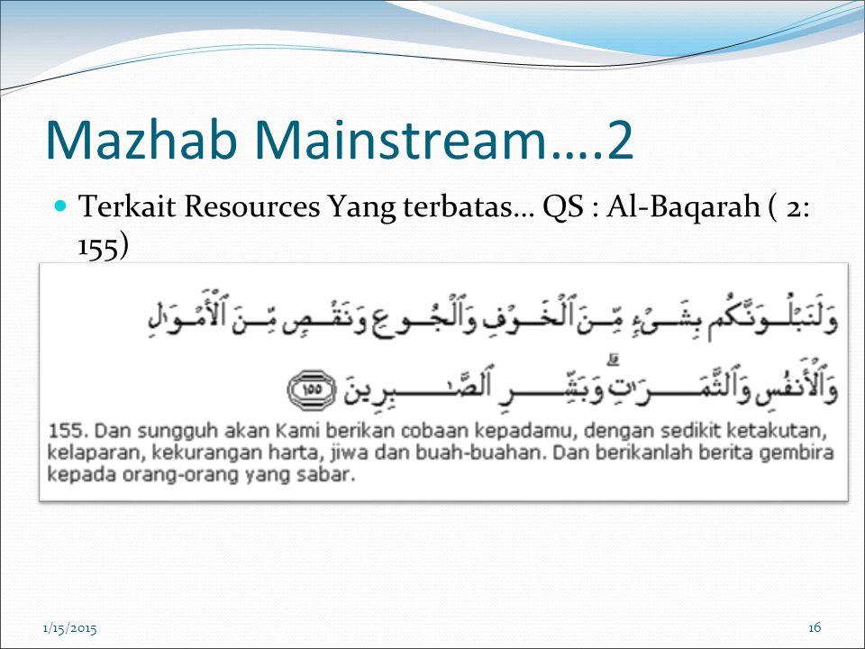 Mazhab Mainstream….2 Terkait Resources Yang terbatas… QS : Al-Baqarah ( 2: 155) 1/15/201516
