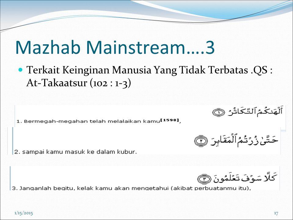 Mazhab Mainstream….3 Terkait Keinginan Manusia Yang Tidak Terbatas.QS : At-Takaatsur (102 : 1-3) 1/15/201517