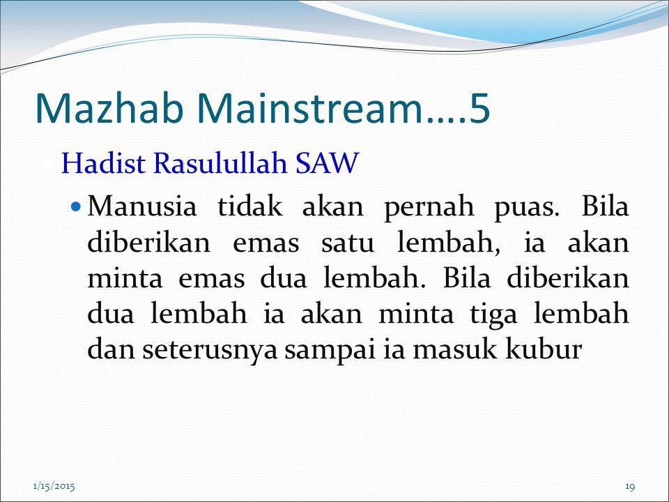 Mazhab Mainstream….5 Hadist Rasulullah SAW Manusia tidak akan pernah puas. Bila diberikan emas satu lembah, ia akan minta emas dua lembah. Bila diberi