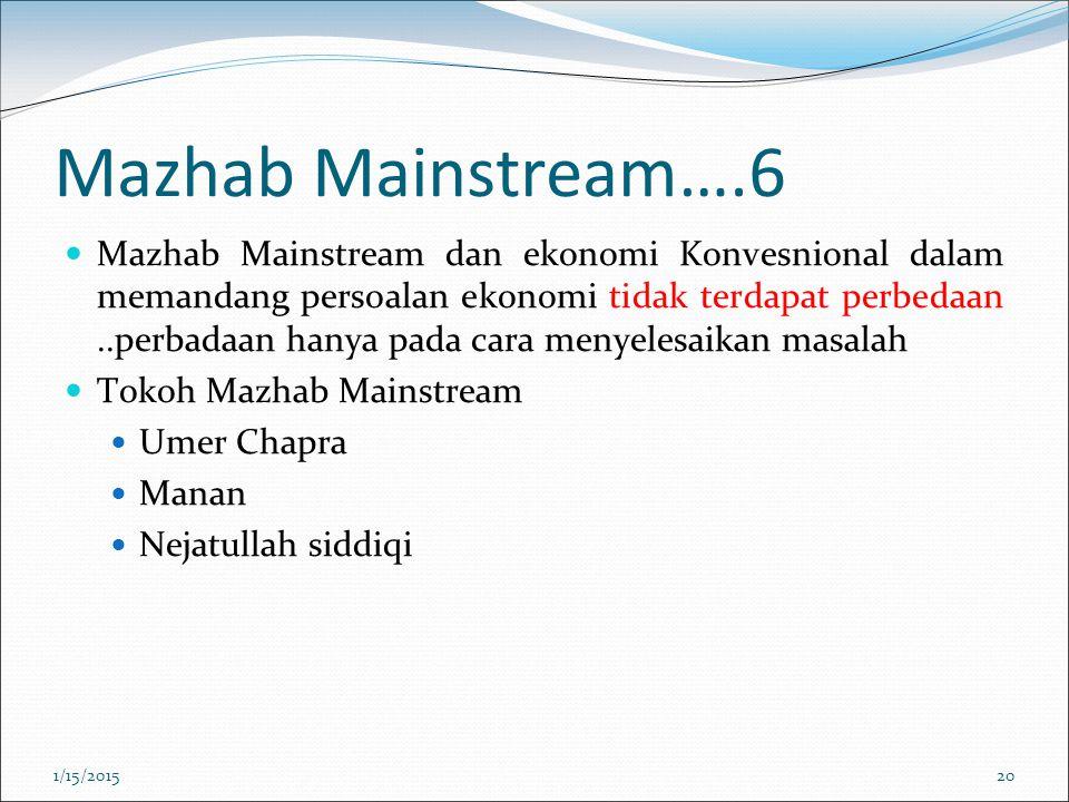 Mazhab Mainstream….6 Mazhab Mainstream dan ekonomi Konvesnional dalam memandang persoalan ekonomi tidak terdapat perbedaan..perbadaan hanya pada cara