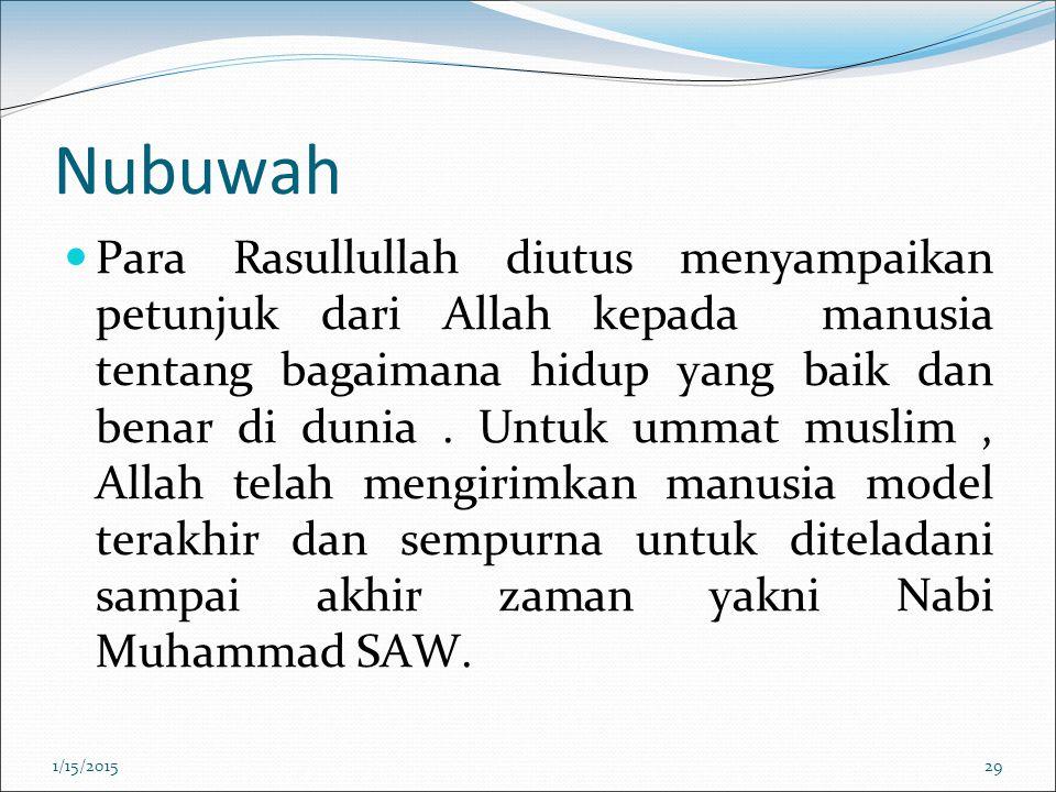 Nubuwah Para Rasullullah diutus menyampaikan petunjuk dari Allah kepada manusia tentang bagaimana hidup yang baik dan benar di dunia. Untuk ummat musl
