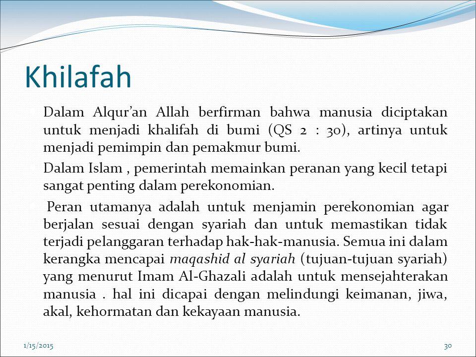 Khilafah Dalam Alqur'an Allah berfirman bahwa manusia diciptakan untuk menjadi khalifah di bumi (QS 2 : 30), artinya untuk menjadi pemimpin dan pemakm