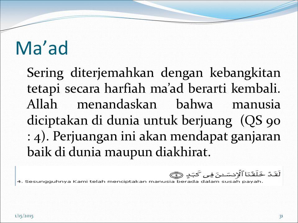 Ma'ad Sering diterjemahkan dengan kebangkitan tetapi secara harfiah ma'ad berarti kembali. Allah menandaskan bahwa manusia diciptakan di dunia untuk b