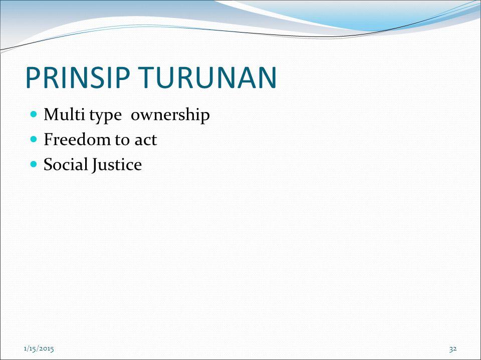 PRINSIP TURUNAN Multi type ownership Freedom to act Social Justice 1/15/201532