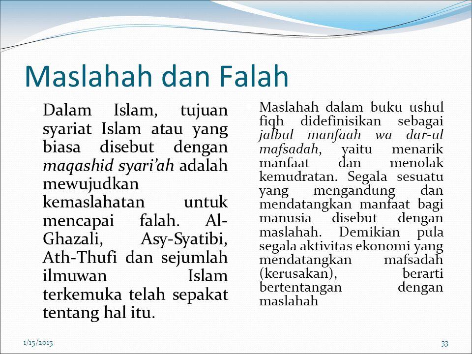 Maslahah dan Falah Dalam Islam, tujuan syariat Islam atau yang biasa disebut dengan maqashid syari'ah adalah mewujudkan kemaslahatan untuk mencapai fa