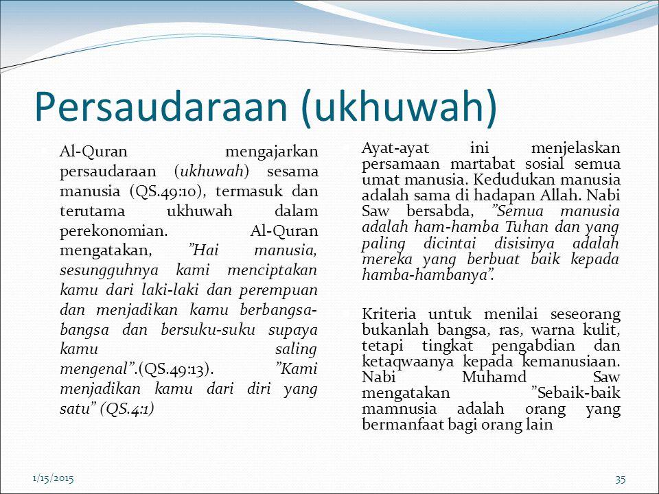 Persaudaraan (ukhuwah) Al-Quran mengajarkan persaudaraan (ukhuwah) sesama manusia (QS.49:10), termasuk dan terutama ukhuwah dalam perekonomian. Al-Qur