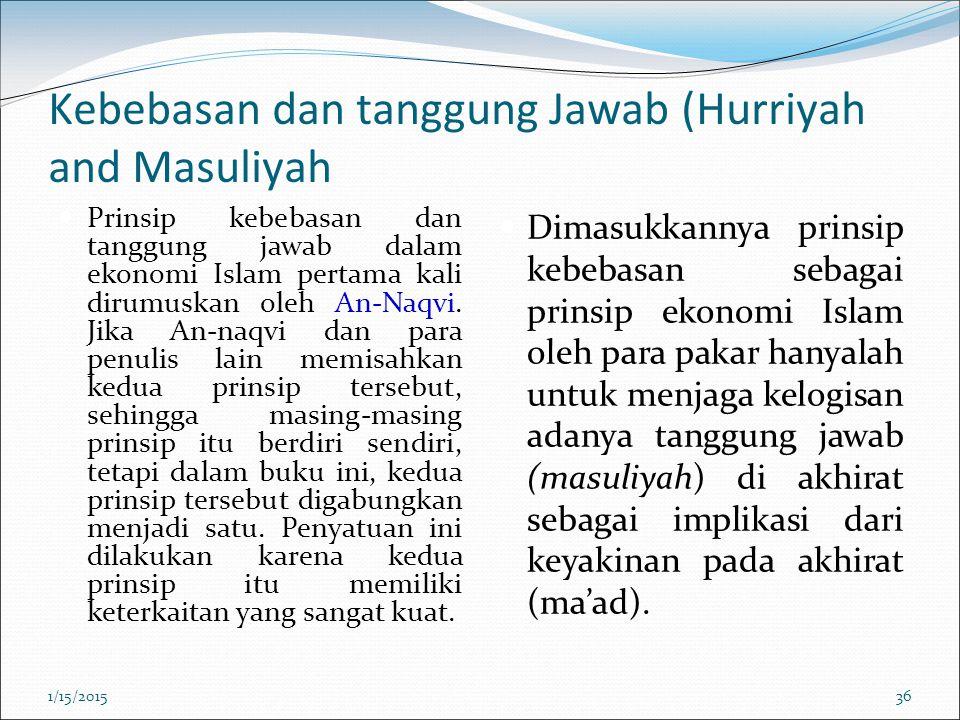 Kebebasan dan tanggung Jawab (Hurriyah and Masuliyah Prinsip kebebasan dan tanggung jawab dalam ekonomi Islam pertama kali dirumuskan oleh An-Naqvi. J