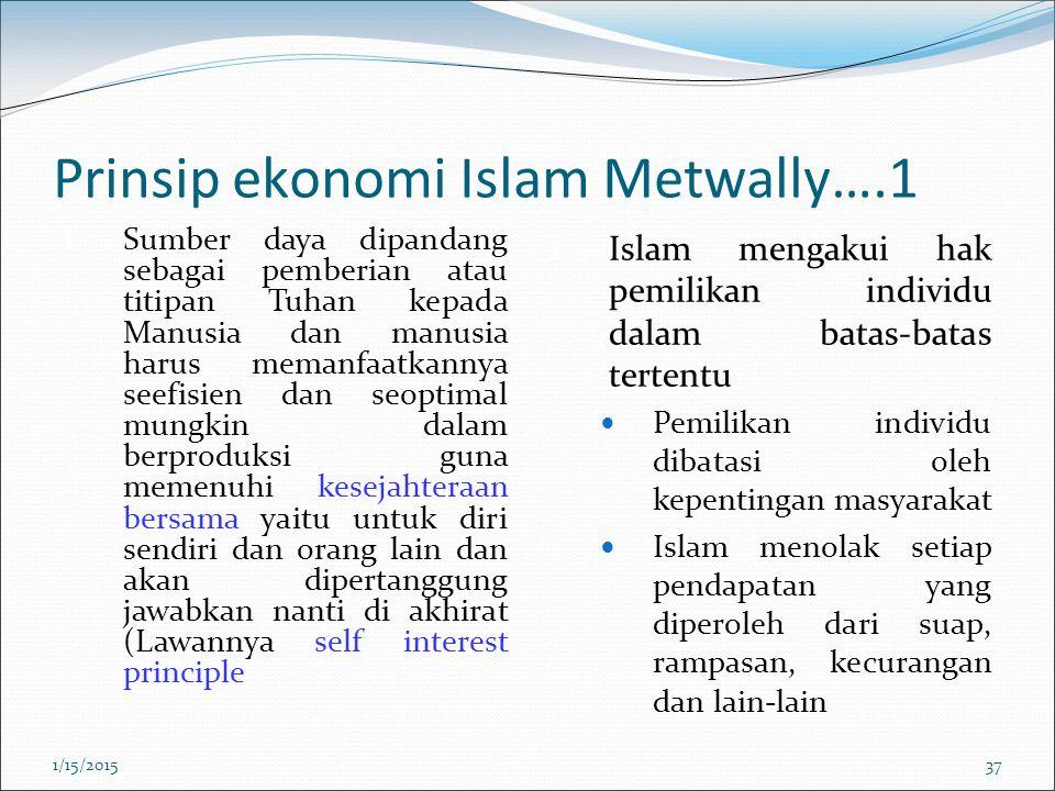 Prinsip ekonomi Islam Metwally….1 1. Sumber daya dipandang sebagai pemberian atau titipan Tuhan kepada Manusia dan manusia harus memanfaatkannya seefi