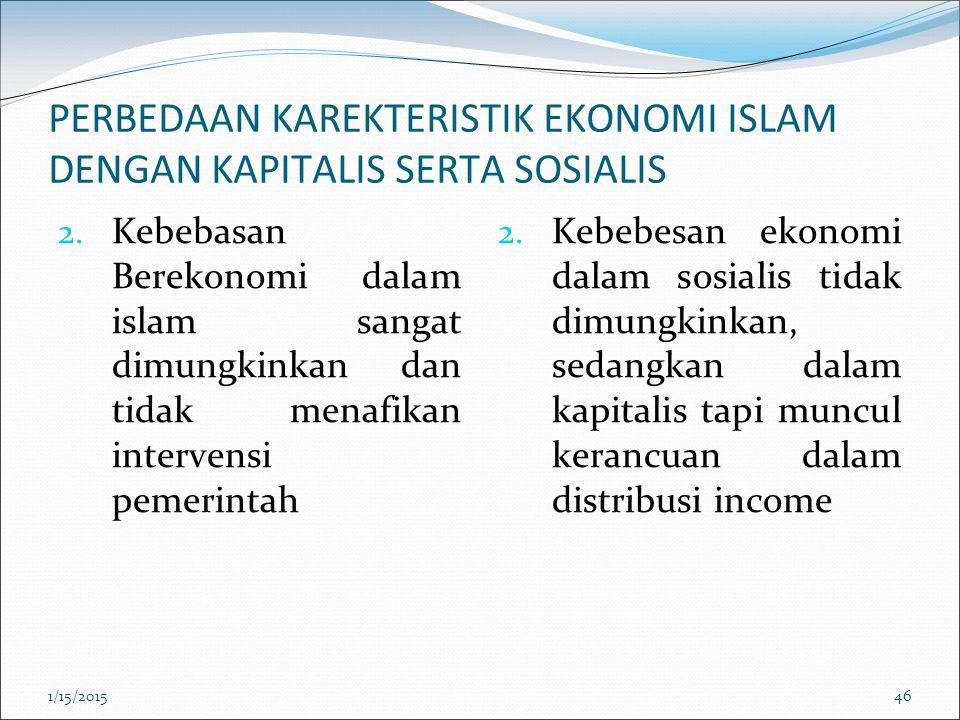 PERBEDAAN KAREKTERISTIK EKONOMI ISLAM DENGAN KAPITALIS SERTA SOSIALIS 2. Kebebasan Berekonomi dalam islam sangat dimungkinkan dan tidak menafikan inte