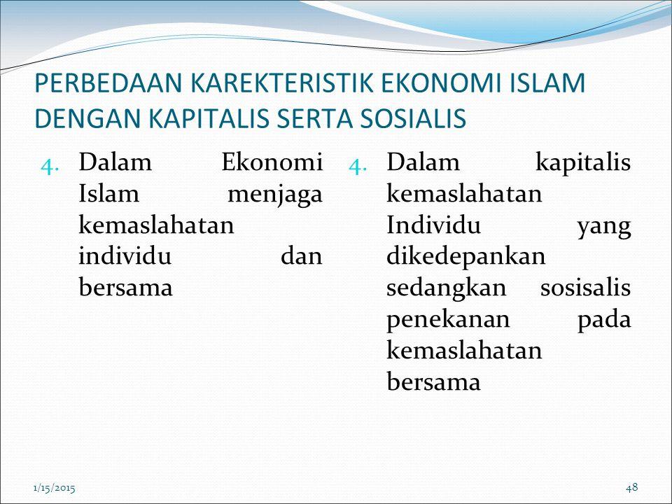PERBEDAAN KAREKTERISTIK EKONOMI ISLAM DENGAN KAPITALIS SERTA SOSIALIS 4. Dalam Ekonomi Islam menjaga kemaslahatan individu dan bersama 4. Dalam kapita