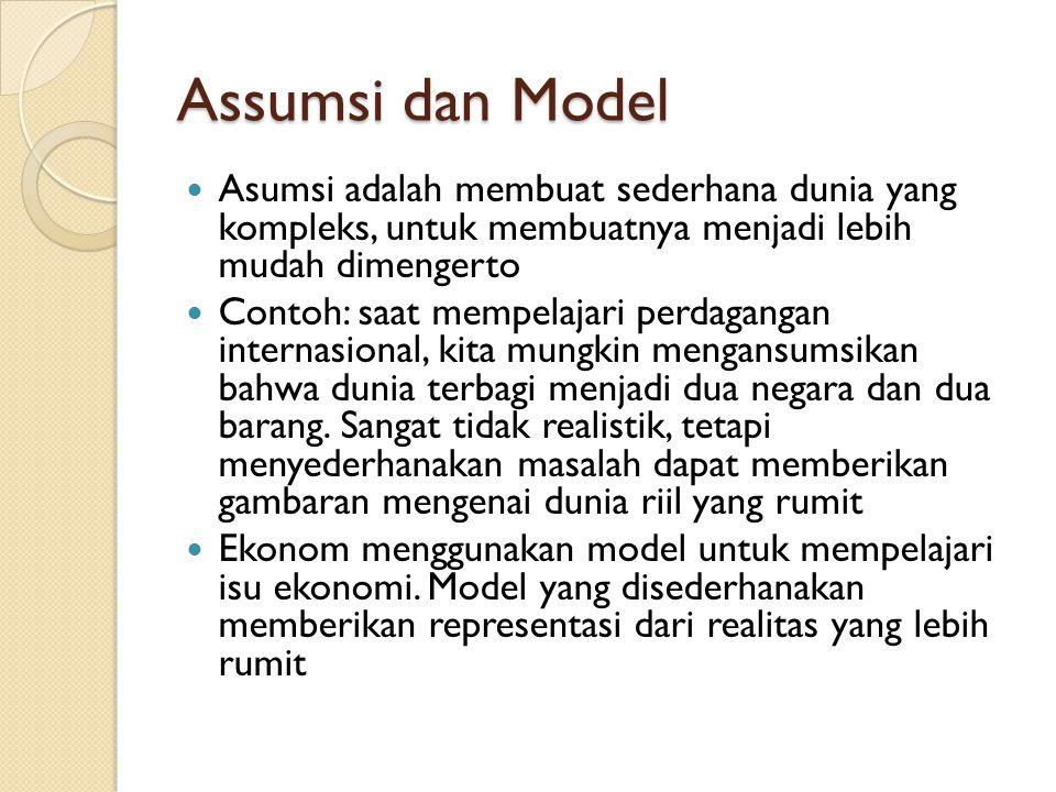 Assumsi dan Model Asumsi adalah membuat sederhana dunia yang kompleks, untuk membuatnya menjadi lebih mudah dimengerto Contoh: saat mempelajari perdag