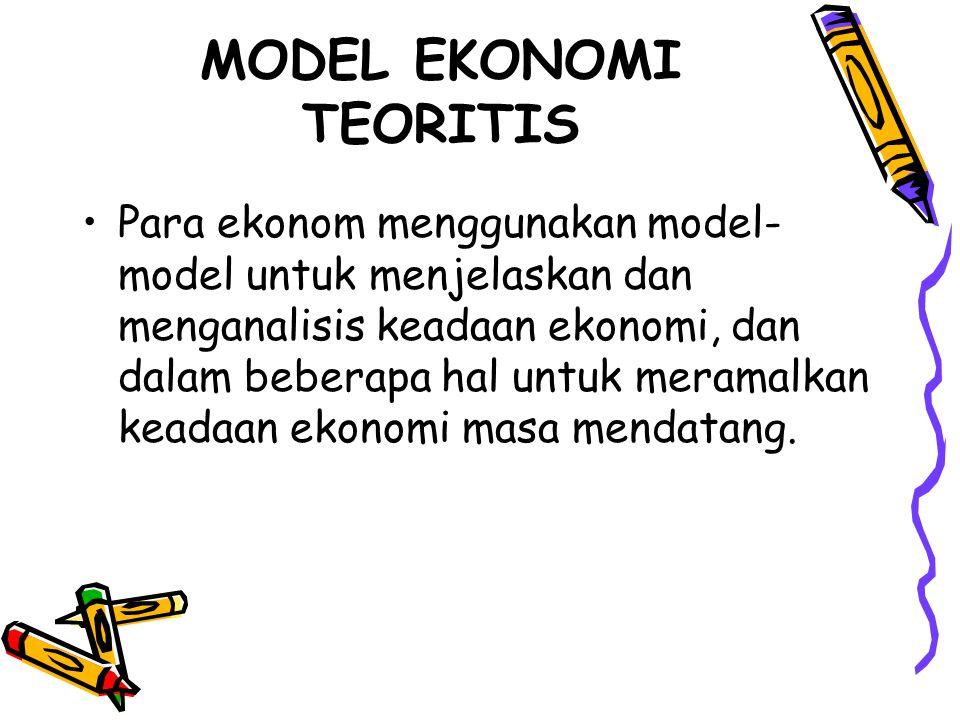 MODEL EKONOMI TEORITIS Para ekonom menggunakan model- model untuk menjelaskan dan menganalisis keadaan ekonomi, dan dalam beberapa hal untuk meramalka