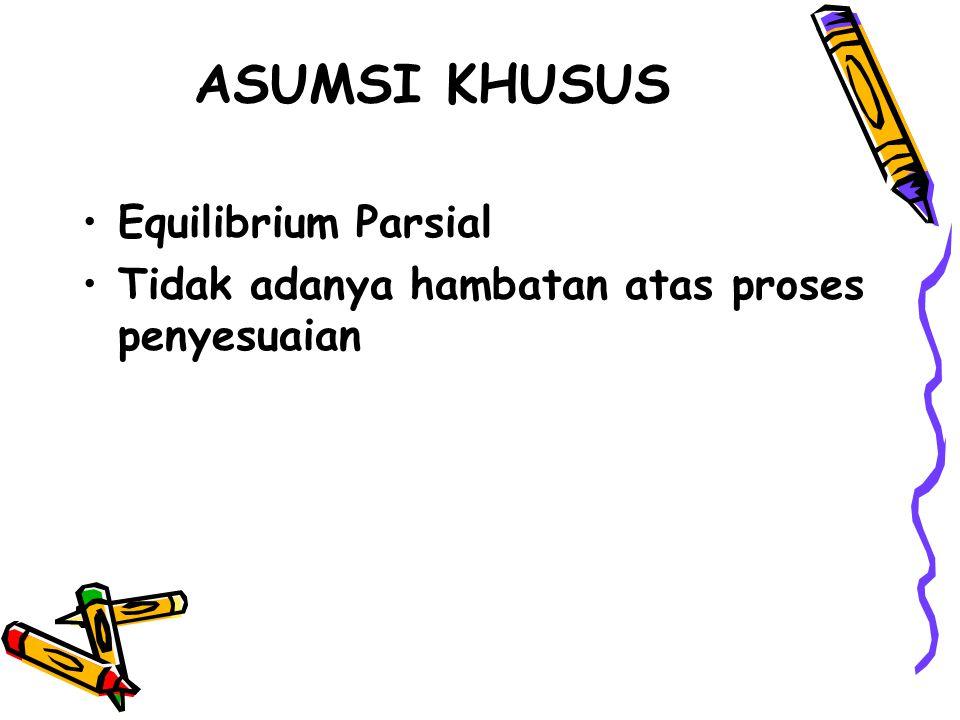 ASUMSI KHUSUS Equilibrium Parsial Tidak adanya hambatan atas proses penyesuaian