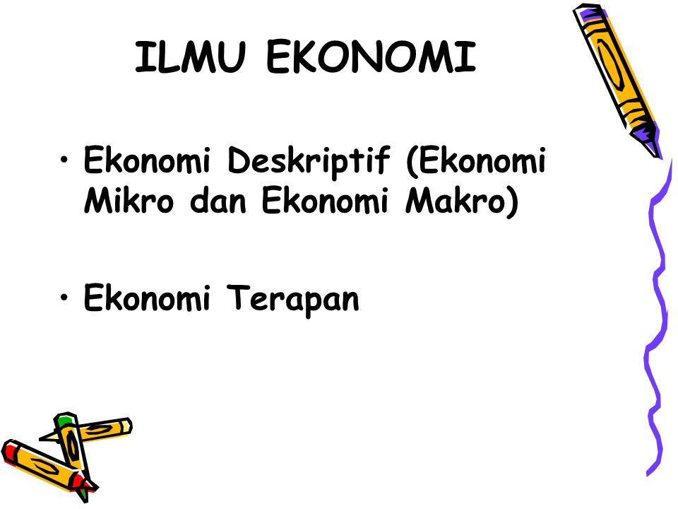 ILMU EKONOMI Ekonomi Deskriptif (Ekonomi Mikro dan Ekonomi Makro) Ekonomi Terapan