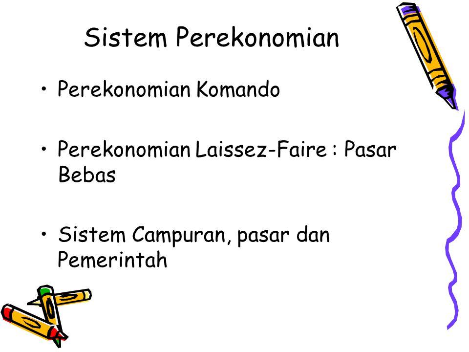 Sistem Perekonomian Perekonomian Komando Perekonomian Laissez-Faire : Pasar Bebas Sistem Campuran, pasar dan Pemerintah