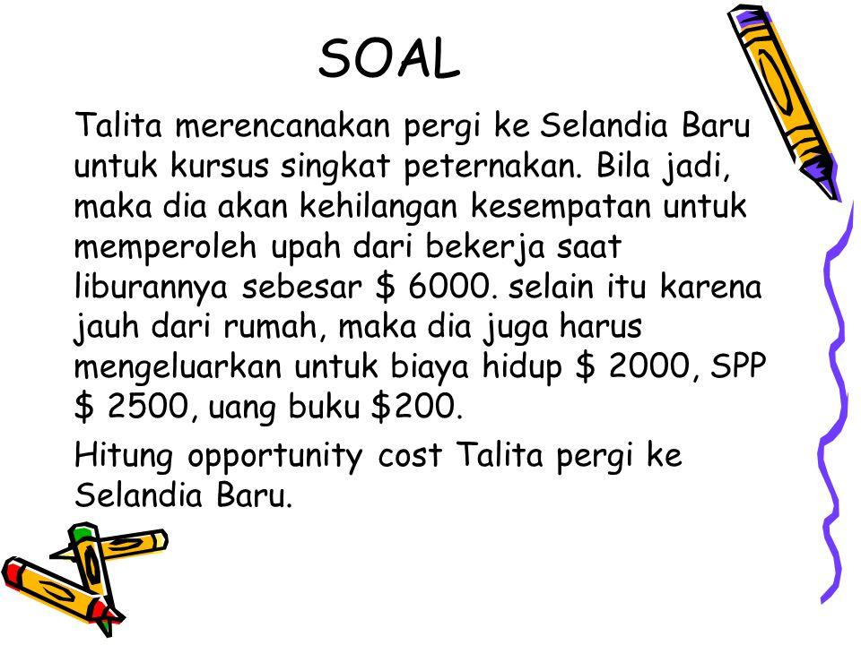 SOAL Talita merencanakan pergi ke Selandia Baru untuk kursus singkat peternakan. Bila jadi, maka dia akan kehilangan kesempatan untuk memperoleh upah
