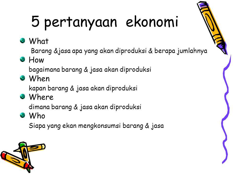 5 pertanyaan ekonomi What Barang &jasa apa yang akan diproduksi & berapa jumlahnya How bagaimana barang & jasa akan diproduksi When kapan barang & jas