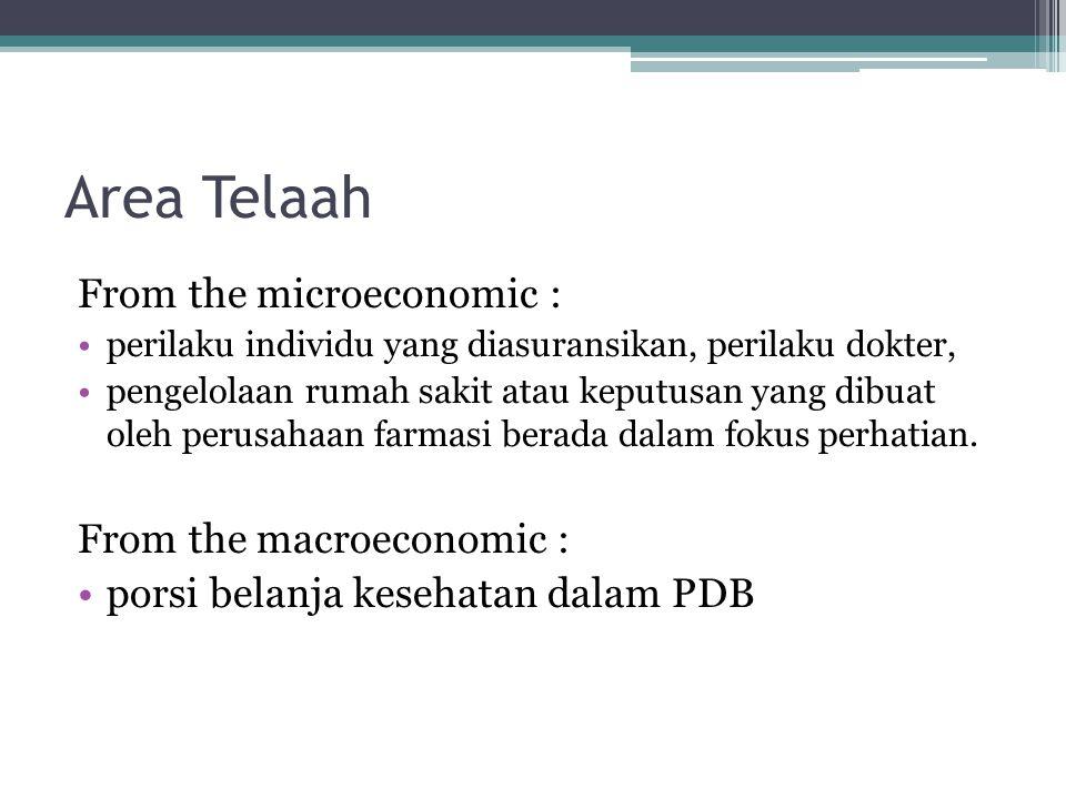 Area Telaah From the microeconomic : perilaku individu yang diasuransikan, perilaku dokter, pengelolaan rumah sakit atau keputusan yang dibuat oleh perusahaan farmasi berada dalam fokus perhatian.