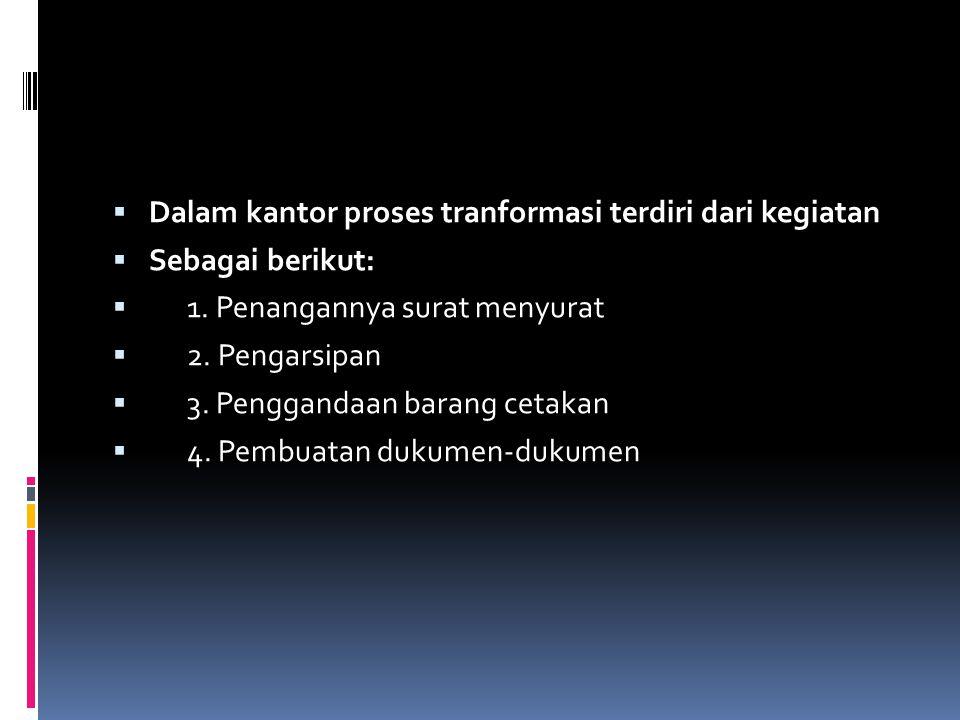  Dalam kantor proses tranformasi terdiri dari kegiatan  Sebagai berikut:  1. Penangannya surat menyurat  2. Pengarsipan  3. Penggandaan barang ce