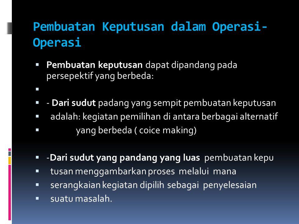 Pembuatan Keputusan dalam Operasi- Operasi  Pembuatan keputusan dapat dipandang pada persepektif yang berbeda:   - Dari sudut padang yang sempit pe