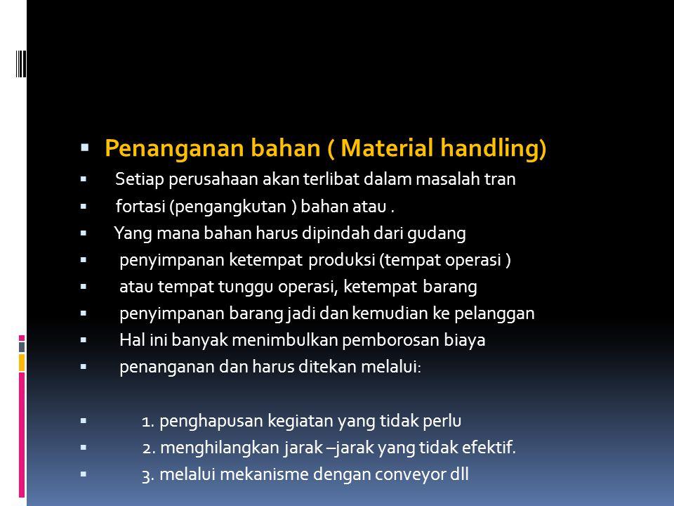  Penanganan bahan ( Material handling)  Setiap perusahaan akan terlibat dalam masalah tran  fortasi (pengangkutan ) bahan atau.  Yang mana bahan h